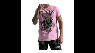 Мужская футболка с рисунком мишки тедди, стразы, летняя повседневная одежда с вышивкой, хлопок, короткий рукав, розовый рай,