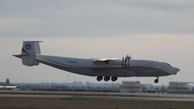 Plane Spotting LEJ Antonov Airlines AN 22A ANTEI UR 09307 landing Leipzig Halle Airport Runway 26L