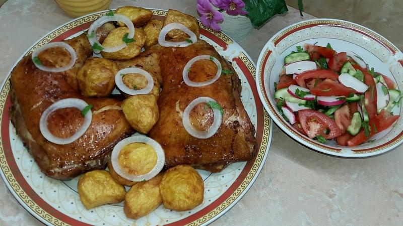 Запеченая курица в духовке с картошкой ☆ Вкусная и сочная курочка