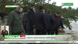 Калиматов осмотрел подтопленные из-за ливневых дождей территорий региона.