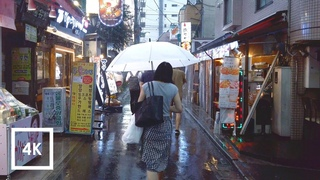 Walking in the Rain Tokyo, Japan (Relaxing Binaural Thunderstorm Sounds for Sleep) 4k ASMR