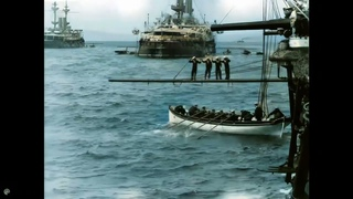 [4k, 60 fps, colorized] (1899-1900). Man overboard!. Royal Navy and German Navy naval exercises.