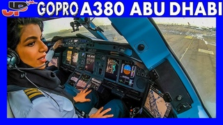ETIHAD AIRBUS A380 Takeoff Abu Dhabi   Flight Deck GoPro View