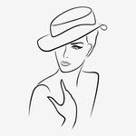 02-98 Термотрансфер Девушка в шляпе, черный 17х24см