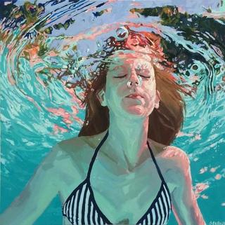 underwater painting of people by houston - 1000×1004