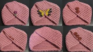 Делаем шапочку-чалму из вязаного шарфика. Бесшовный вариант такой чалмы в следующих видео