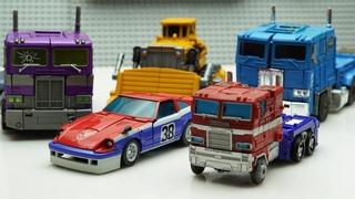 TRANSFORMERS STOP MOTION - Cybertron Optimus, Smokescreen, Construction & Hulk robot in real life!
