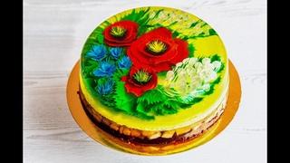 Желейный торт с 3Д цветами из сливок.