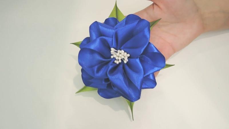 Объемный бант из атласной ленты Простые пышные бантики цветы Канзаши резинки