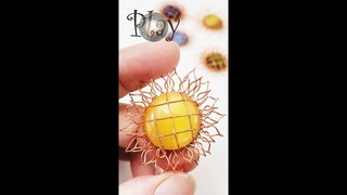 Play with wire   Sunflower   Pendant   Round cabochon 618 #Shorts