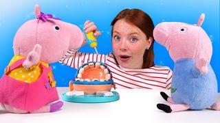 Peppa Wutz und Irene spielen Zahnarzt. Play Doh Spielspaß mit Doktor Wackelzahn