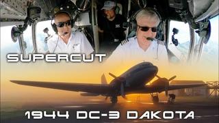 "1944 DC-3 ""Betsy"" Cockpit Movie Supercut! AMAZING New Zealand & Dakota views: Fly DC-3 NZ [AIRCLIPS]"