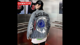 Мужская джинсовая куртка в стиле хип хоп let s rock, повседневная винтажная джинсовая куртка с принтом «большие глаза» и