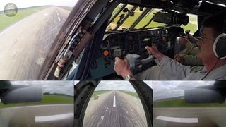 STUNNING Ilyushin 76 Cockpit Split Screen: L O W  PASS over Minsk Runway!!! [AirClips]