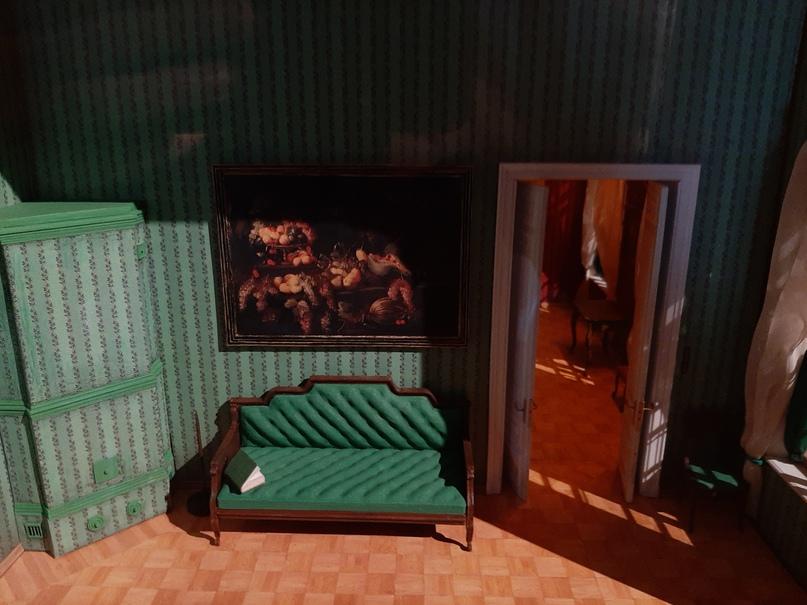 Современный макет с лифтом и комнатами (фрагмент)