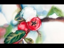 Winter Berries Painting in Watercolor Holly Plant
