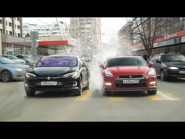 ПАССАЖИРЫ В ШОКЕ Гонка TESLA Model S vs NISSAN GT R КТО БЫСТРЕЕ
