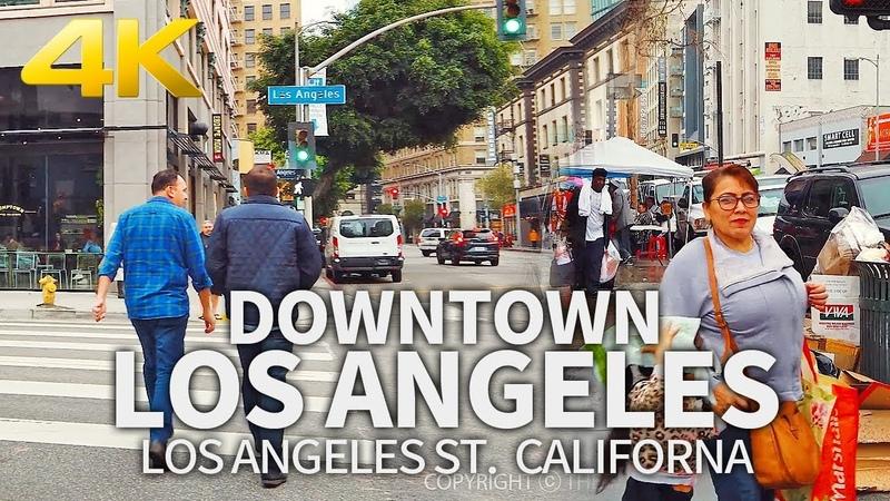 LOS ANGELES - Street Walk in Downtown Los Angeles, Los Angeles St, California, USA, Travel, 4K UHD