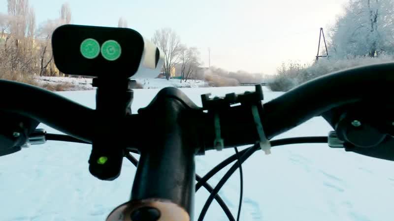 Зимняя поездка на велосипеде по оз Линево
