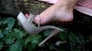 My old, worn heels, my fingers, feet, soles, pedicure, panties and mini skirt