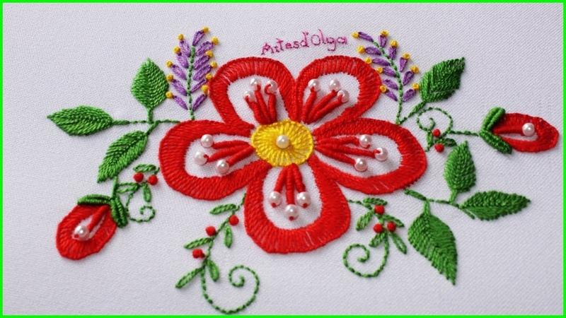 Hand Embroidery Fantasy Flower with Buttonhole stitch Flor Fantasía en Punto Ojal Artesd'Olga