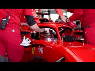 Carlos Sainz  on his first day in Scuderia Ferrari colours