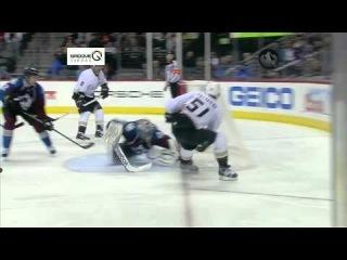 Semyon Varlamov gets across the goal line for a huge glove save. 02/06/2013