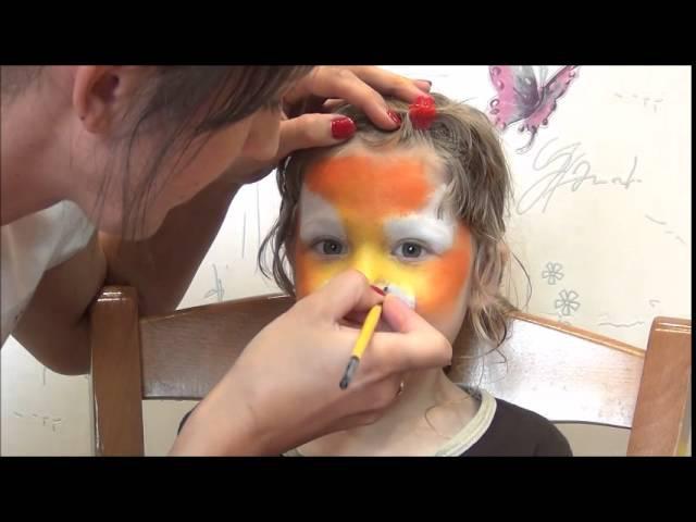 Tiger Face Painting. Мастер класс аквагрим Тигр