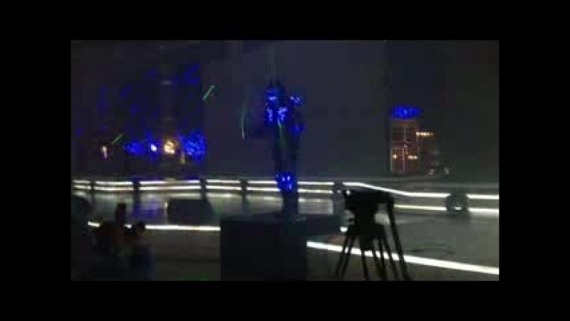 Laser man show at stage