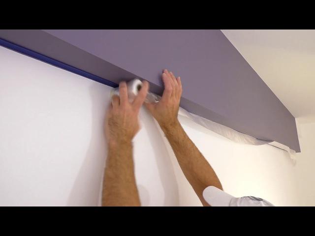 Идеальный стык краски Двойная оклейка Красим потолок и стены в разные цвета