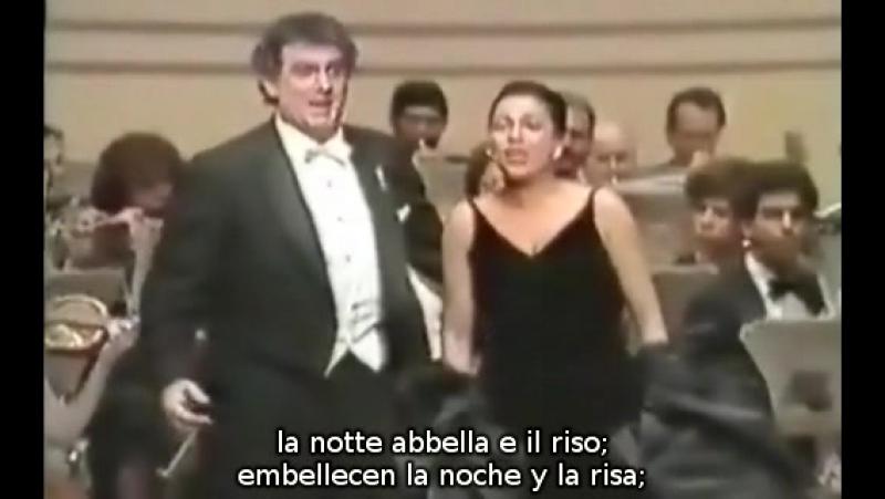 Plácido Domingo Kathleen Battle Libiam ne lieti calici de La Traviata de Verdi subtítulos español e italiano