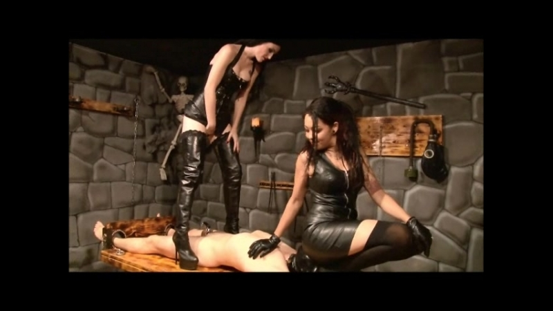 Mistress Blackdiamoond & Lady Alektra - Chastity Belt for Prisoner from Ladies in Leather