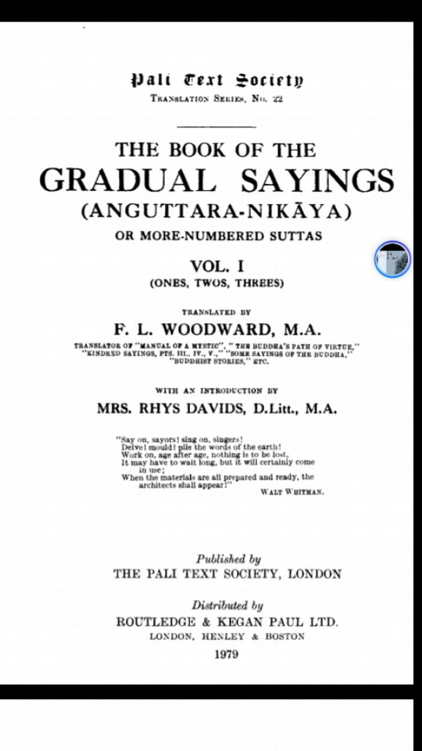 Book of the Gradual Sayings  The Anguttara Nikaya or More-Numbered Suttas V(1)