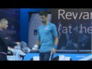 Novak Djokovic David Goffin Practice - ATP World Tour Finals 2016