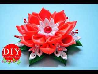 DIY. Flower kanzashi scrunchy. New petals. Kanzashi flower tutorial
