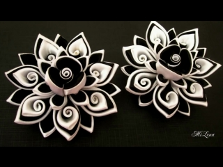 Резинки канзаши, МК _ DIY Scrunchy with Kanzashi flower _ Black  White Ribbon F