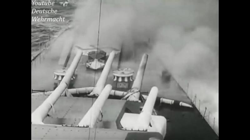 Линкоры Шарнхорст и Гнейзенау Уничтожение британского авианосца Глориус 1940 год Немецкая кинохроника