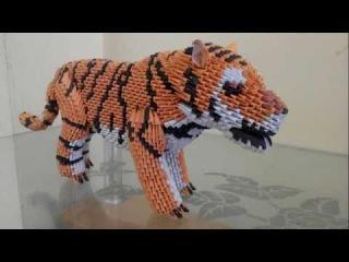 tutorial origami 3D Tiger (harimau indonesia) part 5