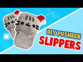 DIY PUSHEEN SLIPPERS MADE WITH A SPONGE?! - NO SEW TUTORIAL