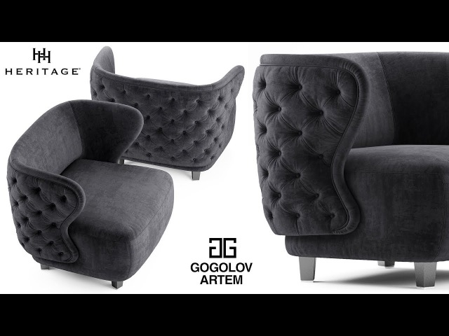 №52. Chair modeling Heritage ANNABELLE в 3d max.