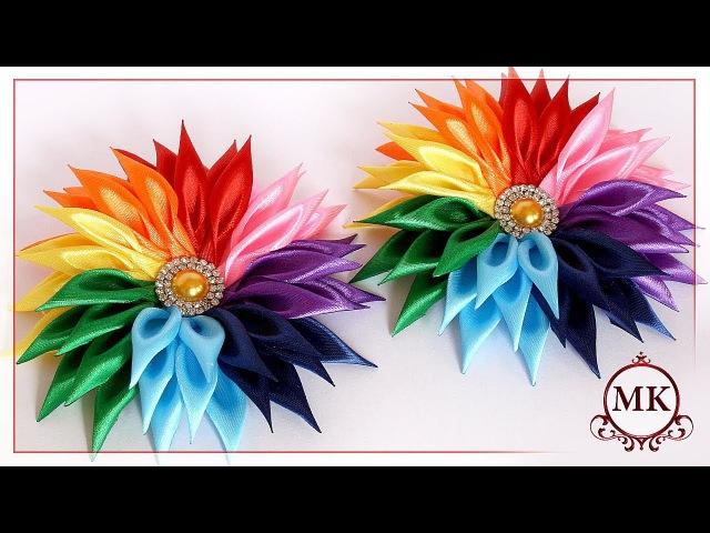 Радужные резинки для волос Канзаши МК DIY Kanzashi Rainbow scrunchy