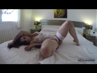Mica martinez in white lingerie panties stockings