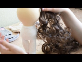 """Мастер класс """"Крепление волос"""" для интерьерных кукол."""