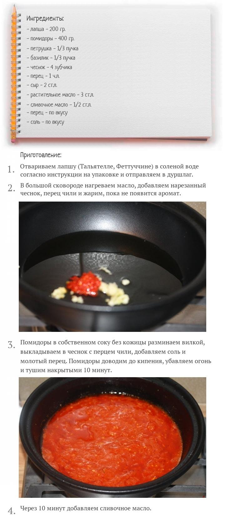 Паста в томатном соусе с зеленью, изображение №2