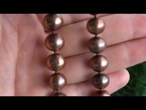 UNIQUE Chocolate Freshwater Pearl Necklace w Solid 14K Gold Clasp eBay Auction