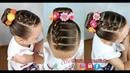 Penteado Infantil com trança falsa e coque rosquinha Bun hairstyle for little girls
