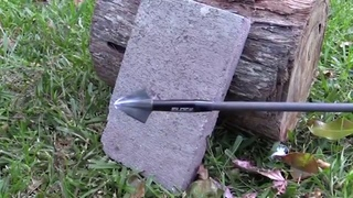 Archery Trick Shots - OZCUT BROADHEAD VS. CONCRETE BLOCK