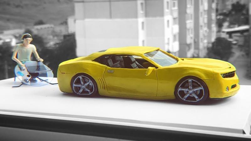 Машина растаяла под палящим солнцем, Chevrolet Camaro из ПЛАСТИЛИНА, краш тест
