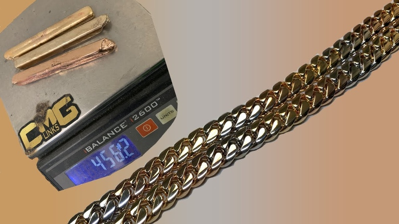How a Tricolor 18 Karat Solid Gold Cuban Link Chain is Made