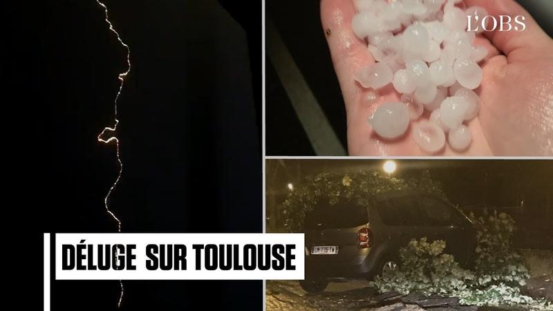 Orage à Toulouse les images des éclairs des grêlons et des pluies diluviennes
